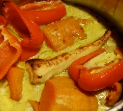 roasted squash, red bells, and a parsnip in coconut curry broth