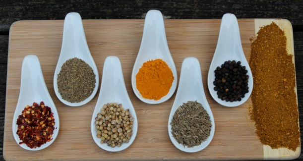 from left to right chili flakes, celery seed, coriander seed, turmeric powder, cumin seed, black peppercorn, and the finished blend itself!