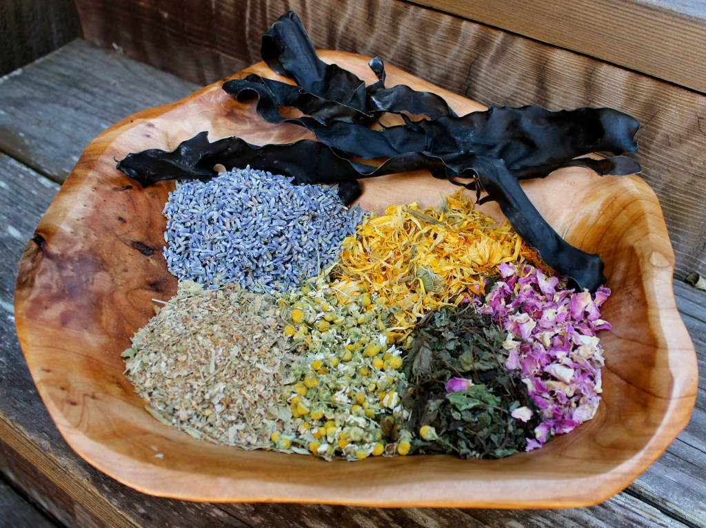 herbs, flowers, and seaweed