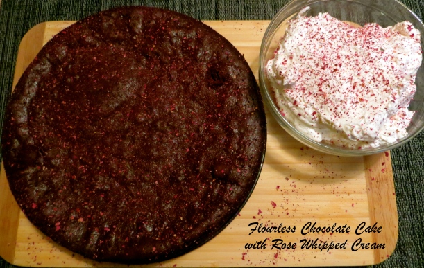 Flourless Chocolate Spiced Cake with Vanilla Caviar & Rose Whipped Cream